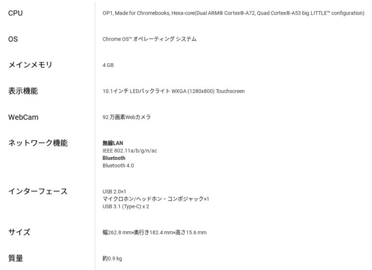 ASUS Chromebook Flip C101PA スペック