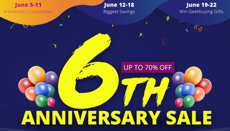 Geekbuying's 6th anniversary countdown