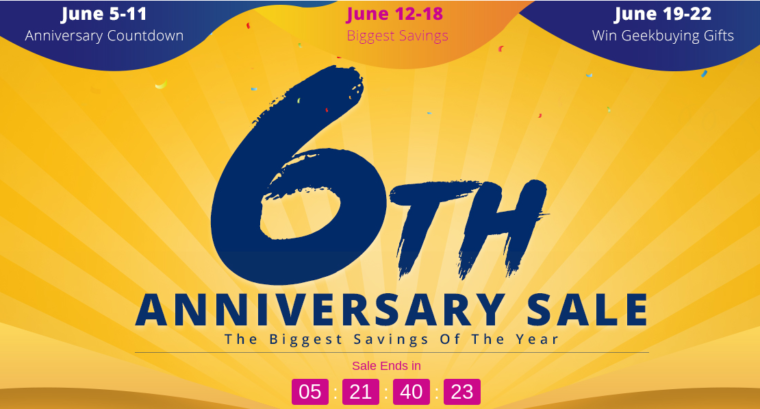 geekbuying 6th 760x409 1-ついに本セール突入!Geekbuyingの6周年記念セールに面白そうな製品が追加されてます。[PR]