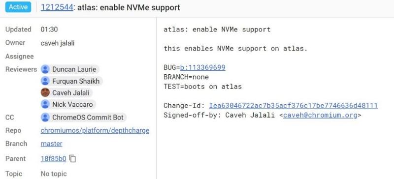 Chromebook「Atlas」が「Pixelbook 2」?SSDにNVMeをサポートしているようです。