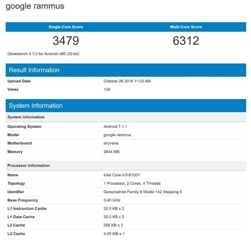 google rammus rumor geekbench-謎のChromebook「Google Rammus」がGeekbenchに登場!Core m3採用だけど…