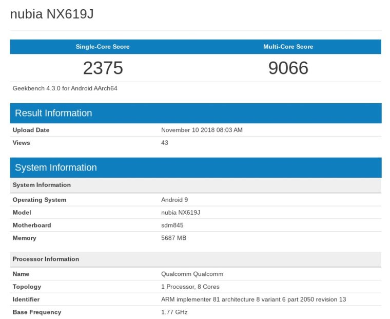 nubia NX619J Geekbench Browser