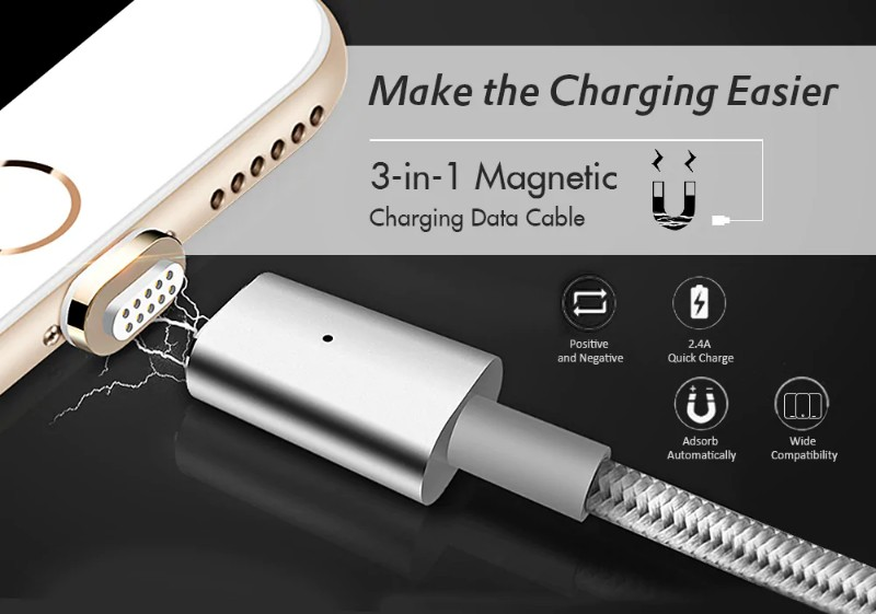 3-in-1 Quick Charging Magnetic Data Cable