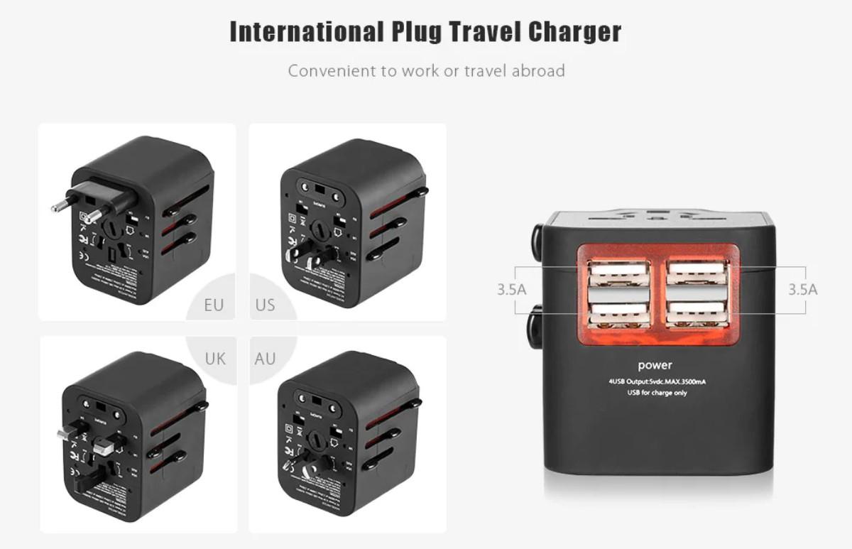 gocomma Universal Travel Adapter with 4 USB Ports 00