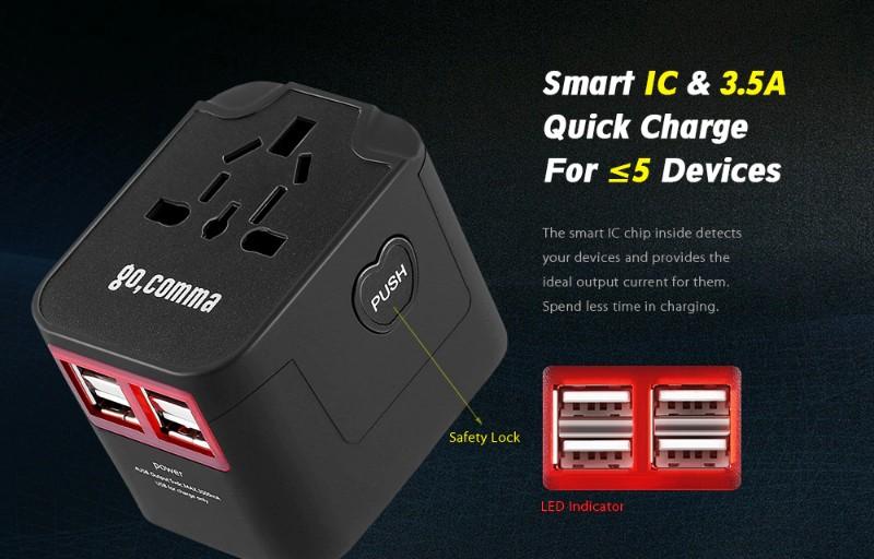 gocomma Universal Travel Adapter with 4 USB Ports