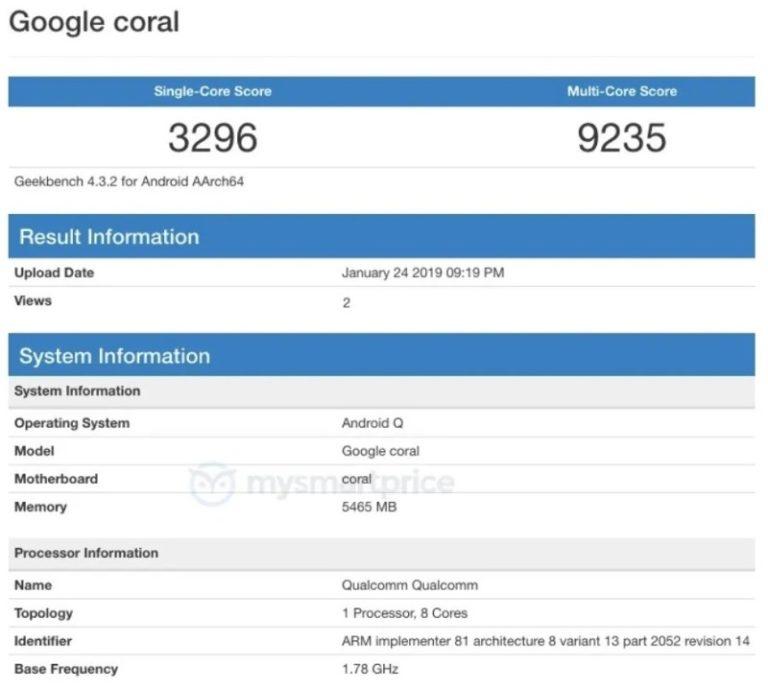 google coral rumor geekbench 768x689-早くも「Google Pixel 4」の画面保護シートが登場。リークに沿ったパンチホールディスプレイのデザイン