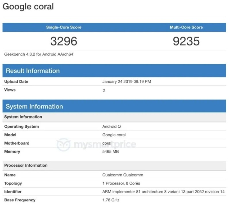 google coral rumor geekbench