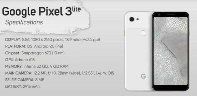 google pixel 3 lite spec ss