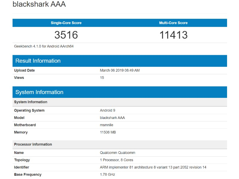 Xiaomi Black Shark 2 bench