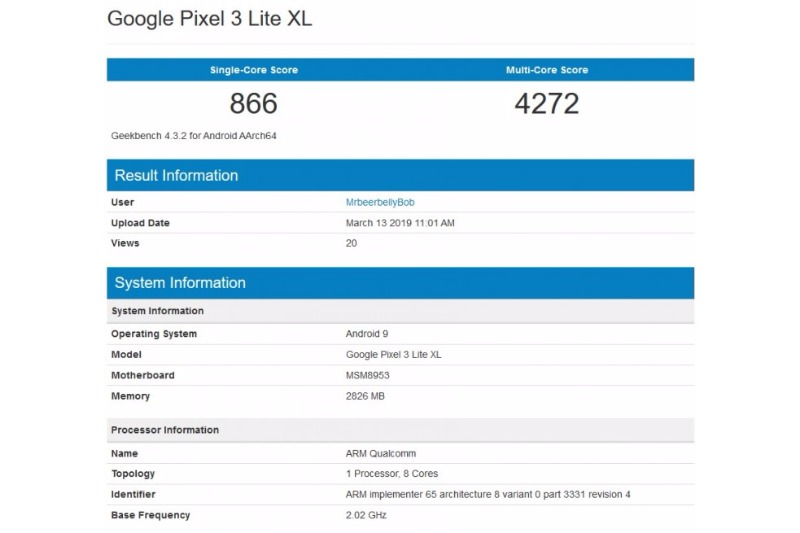 pixel 3 lite xl geekbench rumor sd625