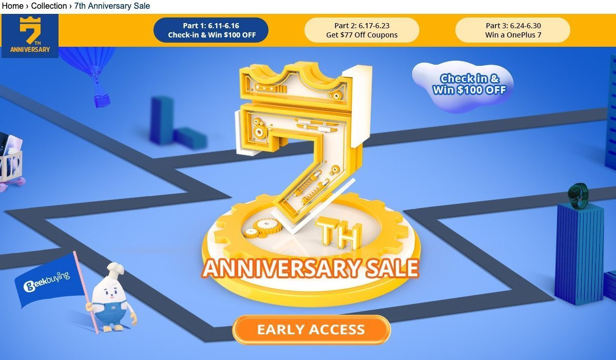 2019 june geekbuying 7th anniversary sale-Geekbuyingで7周年記念セールを開催!クーポンが当たるチャンスや日替わりタイムセールも実施中[PR]