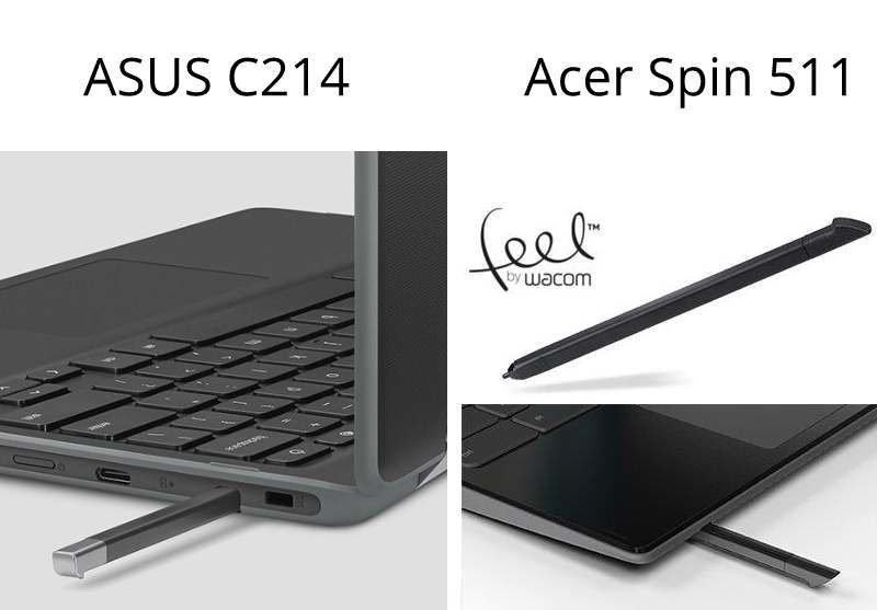 asus c214 acer r752tn stylus 800x557-ASUSの「Chromebook C214」とAcerの「Spin 511 R752TN-N14N」を比較してみる