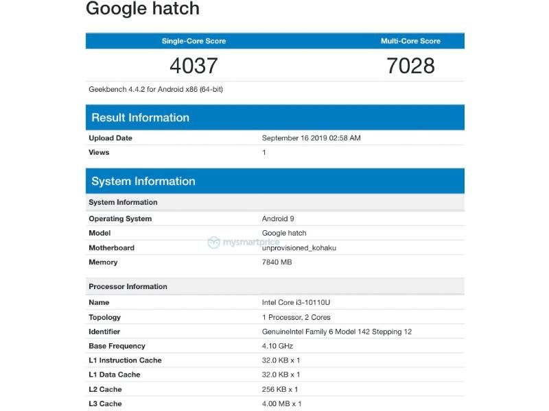 google hatch bench rumor 800x600-Chromebook「Hatch」はCore i3-10110Uを採用?ベンチマークが登場