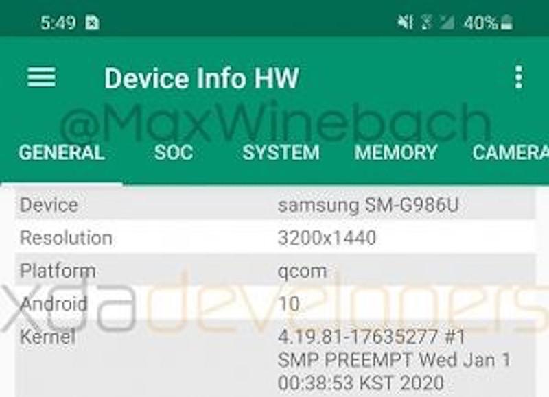 galaxy s20 plus display-Samsungの「Galaxy S20+(Plus)」の実機画像と一部スペックがリークされました
