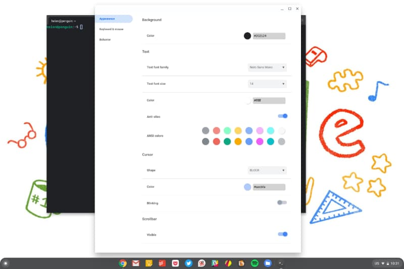 chromeos new terminal app settings 01-Chrome OS 82でLinuxの「ターミナル」にもデザイン変更と新機能が追加されます