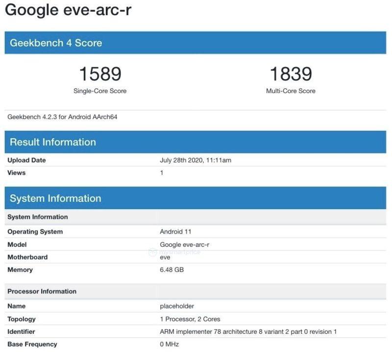 Google eve arc r Geekbench Android 11 800x719-GeekbenchにAndroid 11で動作するChromebook「eve-arc-r」が登場