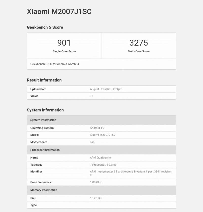 xiaomi mi 10 ultra benchmark 1 800x836-発表直前の「Xiaomi Mi 10 Ultra」のベンチマークがGeekbenchに登場