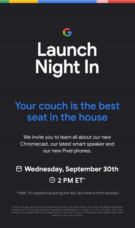 pixel 5 event invite-Googleが9月30日に新製品イベント開催を予告。「Pixel 4 (5G)」と「Pixel 5」が発表か