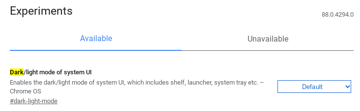 Screenshot 2020 10 18 10.32.10 1-Chromebookのダーク/ライトモード切り替えがCanaryに登場