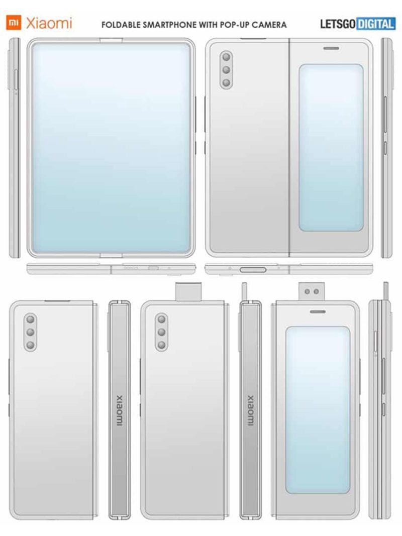 xiaomi patent popup cam foldable phone 01 800x1067-Xiaomiがポップアップカメラ搭載の折りたたみ式スマートフォンを開発中