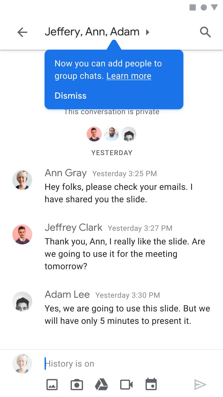 Add people to group chats-ハングアウトのグループチャットがまもなくGoogleチャットに移行されます