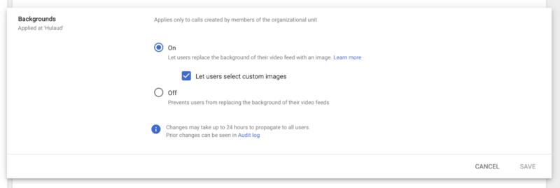 Control background replacement in Google Meet with a new Admin setting 800x269-Google Meetのカスタム背景とプリセットの背景の使用許可を管理コンソールから変更できるようになります