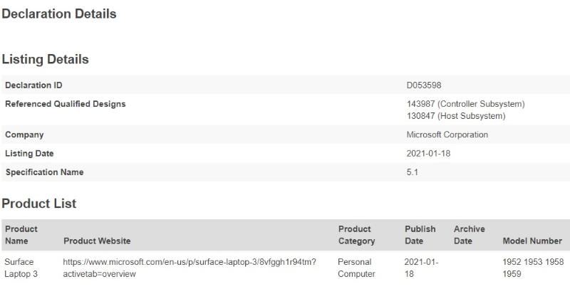 Surface Laptop 4 Bluetooth SIG-「Surface Laptop 4(あるいは3+)」と思われる機種がBluetooth認定を取得。発表も間近か