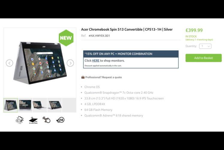 sales start acer chromebook spin 513 in uk 748x499-AcerのSnapdragon 7c搭載「Chromebook Spin 513」が英国で399.99ポンドから販売開始