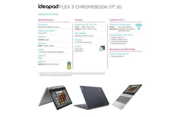 lenovo release 11inch mt8183 ideapad 3 chromebook 748x499-LenovoがMT8183搭載の11インチChromebook「IdeaPad Flex 3 CB 11M836」も海外でリリース予定